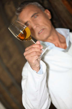 wine expert making tests in a cellar photo