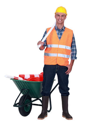 road worker: A forklift operator Stock Photo