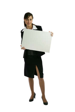 Businesswoman holding blank poster Stock Photo - 12250546