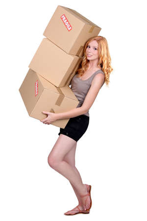 portrait of a young woman with boxes photo