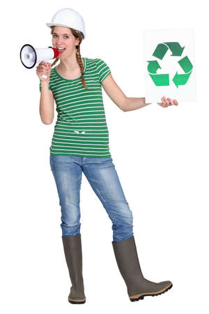 Eco-friendly tradeswoman campaigning Stock Photo - 12250672