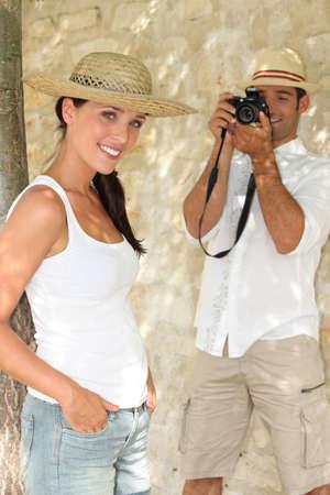 reflex: Tourists taking a photograph