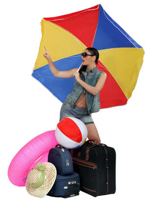 Woman ready for her beach holiday photo
