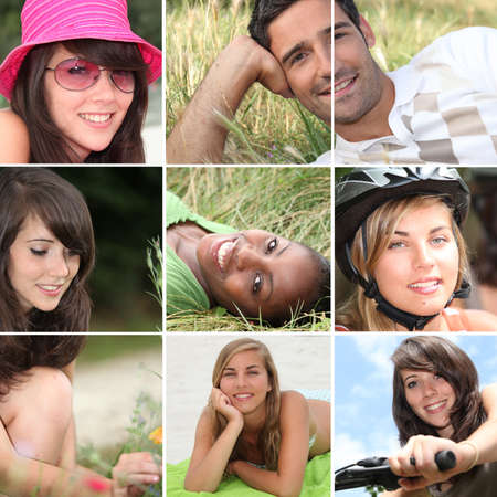 the faces: Portraits of young people Stock Photo
