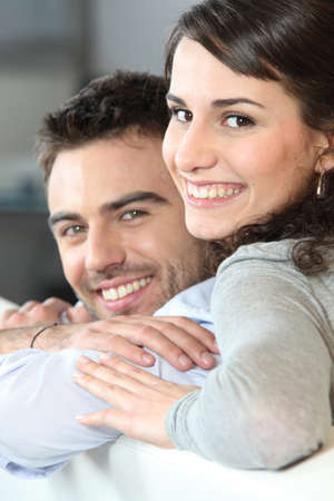 intimate: Young couple cheerful Stock Photo
