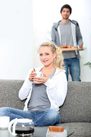drink me: Couple eating breakfast together at home