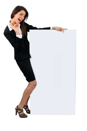 20 29: woman with blank board Stock Photo