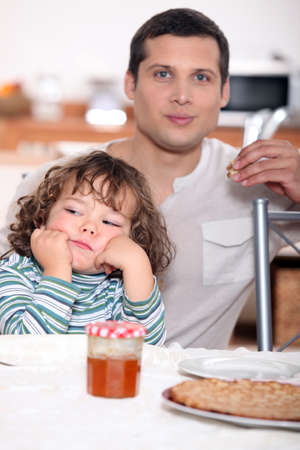 Father having crepes with his child Stock Photo - 12251296