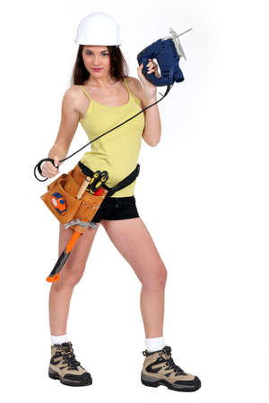 sexy craftswoman posing photo