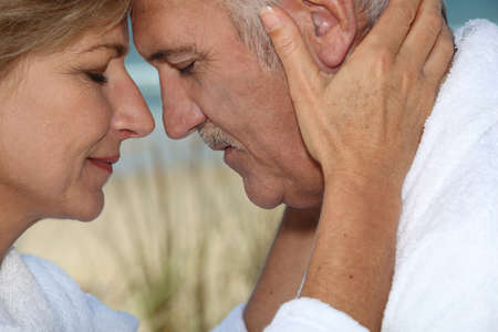 Closeup of a mature couple in love photo