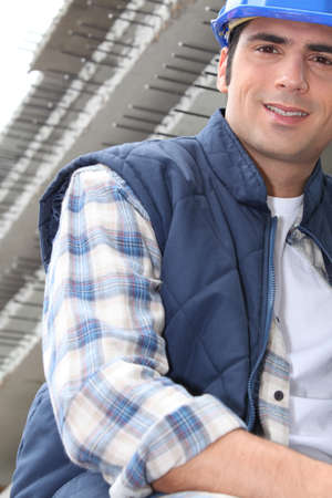 Construction worker with reinforced concrete Stock Photo - 12251932
