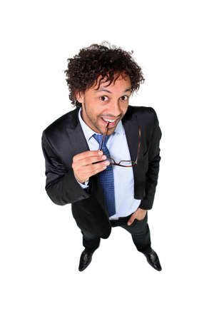 eagerness: High-angle, full-length shot of a businessman Stock Photo