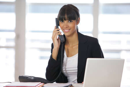 telephonist: Answering the phone Stock Photo