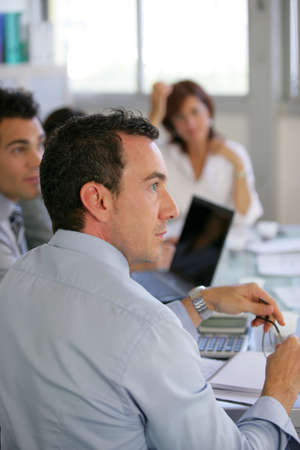 boring: Attentive workers in business meeting