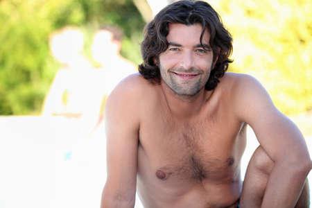 chest hair: Man outside
