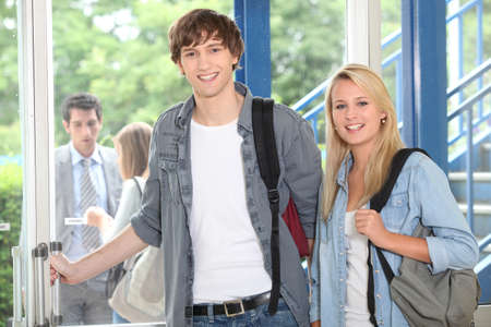 18 19: boy and girl at school Stock Photo