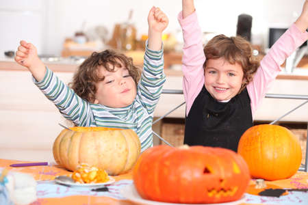 two children at Halloween party photo