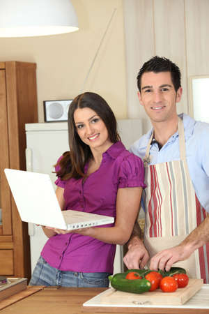 dark-haired couple at home photo