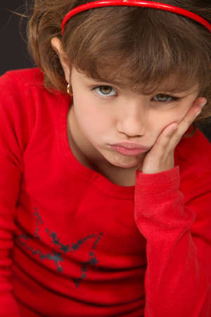 snivel: A little girl pouting.