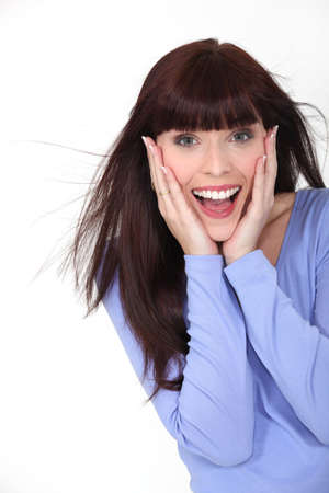 Excited brunette Stock Photo - 12302328
