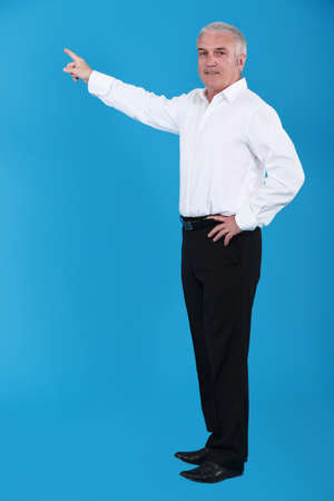 invisible object: Man pointing to an invisible object