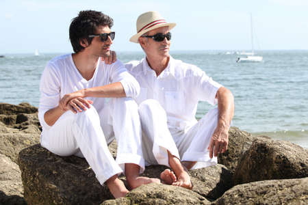 Father and son by the seaside Stock Photo - 12302256