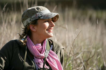 Woman stood in meadow photo