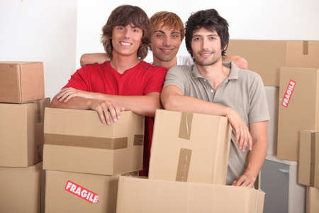 roommates: Young men on moving day Stock Photo