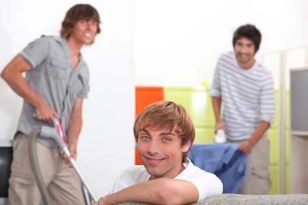 undergrad: Guys cleaning Stock Photo