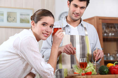 couple making a dinner Stock Photo - 12366025