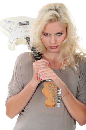 bimbo: foxy blonde with guitar Stock Photo