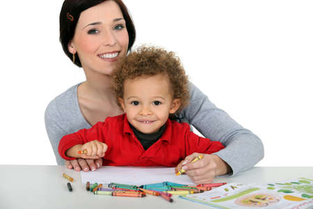 Mother drawing with child photo