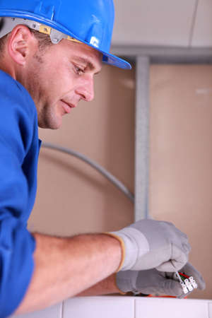 sideburns: electrician Stock Photo