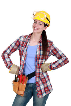 Happy female woodworker photo