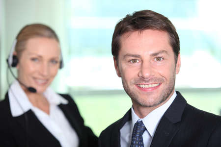2 50: Telesales manager Stock Photo