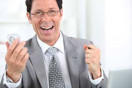 45 49 years: happy businessman close-up Stock Photo