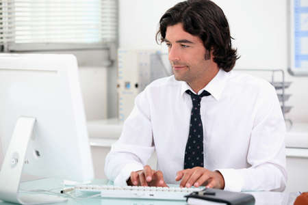 banker: Word processing Stock Photo