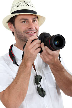 men 45 years: Photographer Stock Photo