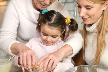 cracking: Family baking together
