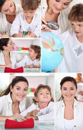 teaching crayons: Giovane donna e bambina a fare i compiti Archivio Fotografico