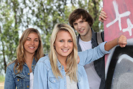 Teenagers smiling Stock Photo - 12638408