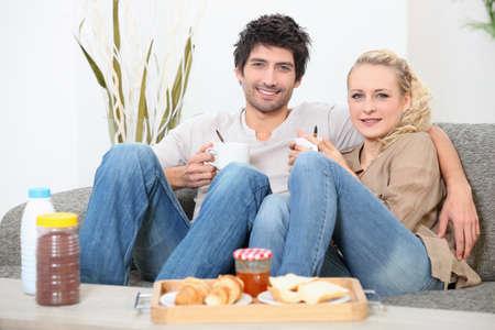Couple having breakfast photo