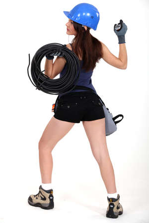 Female electrician Stock Photo - 12594891