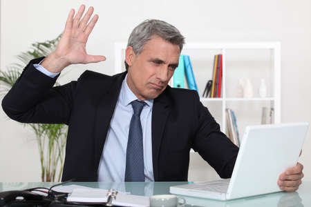 omission: edgy business man Stock Photo