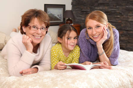 generation gap: Family portrait of three generations Stock Photo