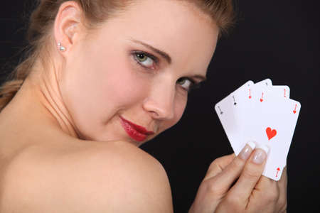 Woman holding cards photo