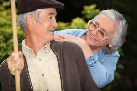 65 years old: Elderly couple Stock Photo