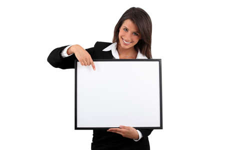 Woman holding a frame Stock Photo - 12761751