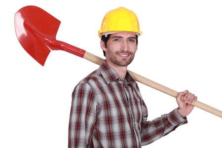 lumberman: craftsman holding a shovel