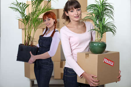 female flatmates carrying cardboard boxes and plants photo